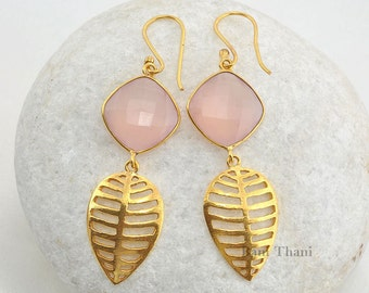 Pink Chalcedony Faceted 16mm Micron Gold Plated 925 Sterling Silver Earrings - #1544