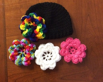 Made to Order- Infant Girl Crochet Hat in Black with 4 Interchangable Flowers (size 6-12 mos)