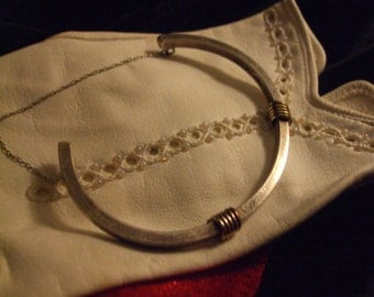 Vintage Collectable 1970's Gold accented Sterling Silver Bracelet J14019a