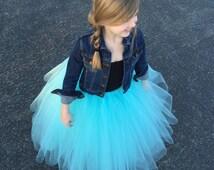 Flower girl tutu, long tulle skirt, aqua tutu, long tulle skirt ANY COLOR