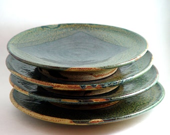 Set of 4 sushi plates, round green & blue serving platters, OOAK Hand made wheel thrown ceramic stoneware pottery
