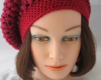 Woman's Slouch Hat -This stylish hat is perfect for the winter season. It is crochet in a burgundy color yarn. Wear it for any occasion