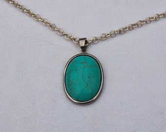 Vintage Pendant Necklace featuring an Oval Turquoise gem.