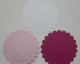 Set of 3- Die Cut Scalloped Circles- 3 of each size (6 different sizes)