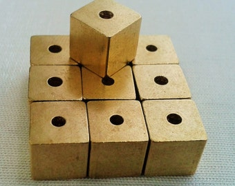 500 Pcs Raw Brass 8 x 8 mm Square Cube Beads, 2 mm Hole -Excellent quality