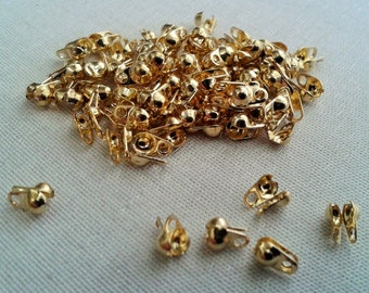 100 Pcs  Gold   Tone  Color Ball Chain Connector for 1 mm or 1,5 mm