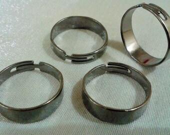 20 Pcs Gunmetal   20 mm Diameter Adjustable Ring Base , 6 mm Blanks Findings , Ring Supplies