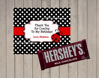 Red Ladybug Polka Dot Chocolate Candy Bar Wrapper - Printable DIY Birthday Party or Baby Shower Decorations