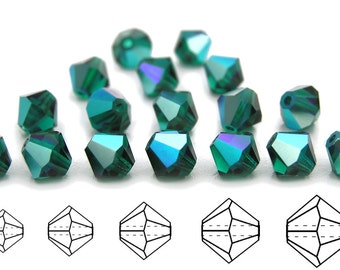 Emerald AB coated, Czech MC Bicone Bead (Rondell, Diamond Shape) in 3mm, 4mm and/or 6mm, Green AB Color