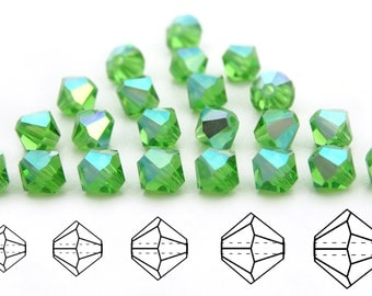 Peridot AB coated, Czech MC Bicone Bead (Rondell, Diamond Shape) in 3mm, 4mm or 6mm, Light Green AB Coated Beads, Aurora Borealis Crystals