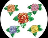 """5 Colors -- 7.5"""" x 5.5"""" Handsewn Beaded Sequins Rose with leaves Orange Pink Purple Red Yellow Flower Sew On Patch Applique Supplies BB113"""