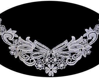 White Floral Venice Lace Applique for Bodice Collar Neckline Motif Patch Bridal Gown Embellishment Decoration Supplies Sewing Notions XM004