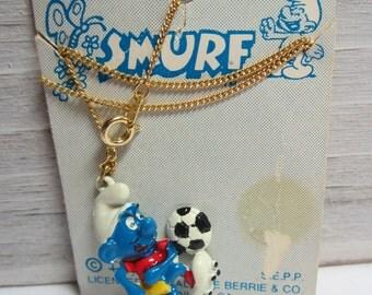 Soccer Smurf Vintage Necklace