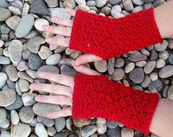 Handmade Womens Fingerless Gloves, crochet gloves, red fingerless gloves, red crochet wrist warmers, spring wrist warmers, summer gloves