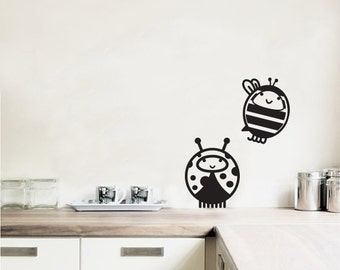 Wall Decal Love Bugs Lady bug and Bee- Vinyl Door Decal- Home Decor- Wall Art