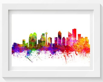 Calgary Alberta Skyline In Color Poster, Home Decor, Gift Idea 02