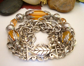 Silver Chain  and Amber Beaded Bracelet
