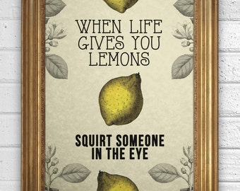 """Vintage Illustration - Motivational Quote - Inspirational Words - """"When life gives you lemons...squirt someone in the eye"""""""