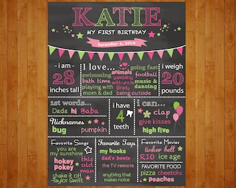 SALE 1st Birthday Chalkboard Poster Hot Pink and Green 1st Year chalkboard Poster Lime Green and Pink 1st year stats Customized for You