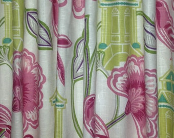 Floral Curtains Braemore Emperor's Garden Curtain Panels Pink Green Floral Curtains Chinosierie Curtains ONE PAIR