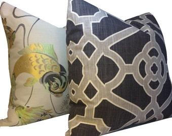 Geometric Pillow Cover P Kaufmann Pavillion Fretwork Charcoal Grey Pillow Cover Trellis Pillow Throw Pillow  20X20 18X18 ONE Cover