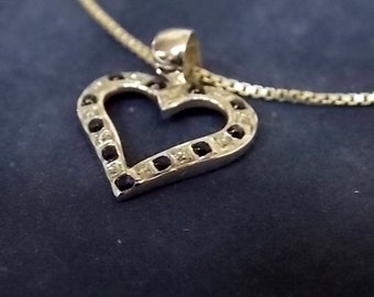 Vintage Estate .925 Sterling Silver Necklace With Heart Pendant 4.1g E1433