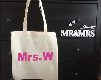 Personalised Mrs Tote Bag - Any Letter You Want