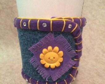 Repurposed Denim Coffee Sleeve With Fleece Liner, Swarovski Crystals // Purple, Yellow, Flower