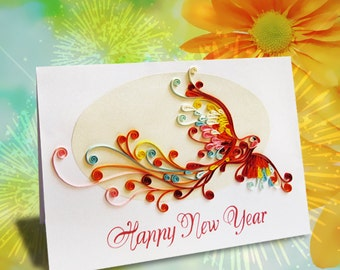 Quilling Happy New Year Card (Phoenix Version)