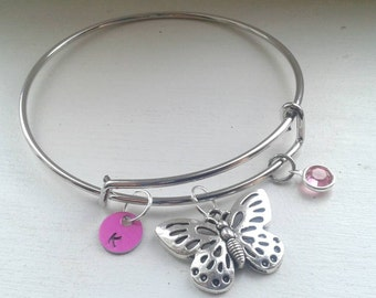 Butterfly Bracelet With Initial and Birthstone - Adjustable Expandable Stainless Steel Bangle - Personalized - Custom - Bridesmaid Gift