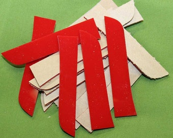 "Red Acrylic Pieces - 20 Each - 5"" to 6"" Long about 1"" wide and 1/4"" thick  - Shipping Included - Item #650"