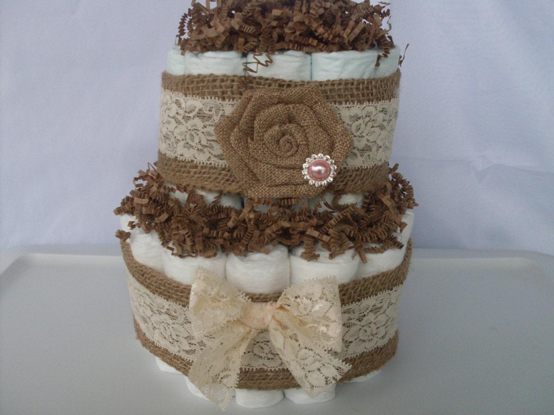 tier burlap diaper cake baby girl diaper cake rustic baby