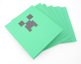 Set of 6 - all occasion invitation for the Gamer who loves Mine Craft and creepers. Perfect for a birthday party!