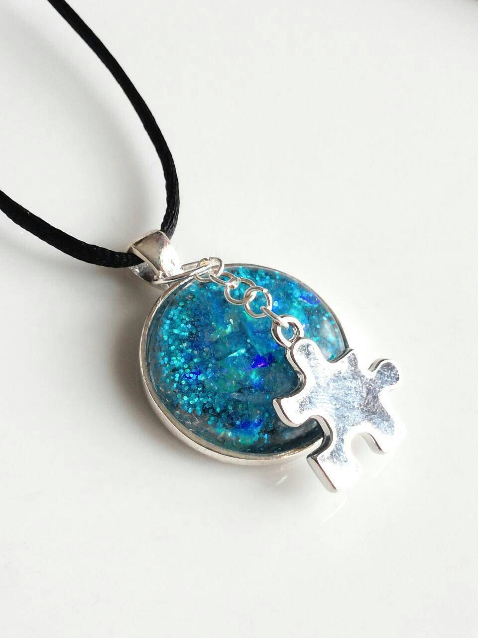autism necklace autism jewelry puzzle necklace by
