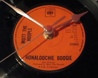 "Mott the Hoople honaloochie boogie 7"" vinyl record clock"