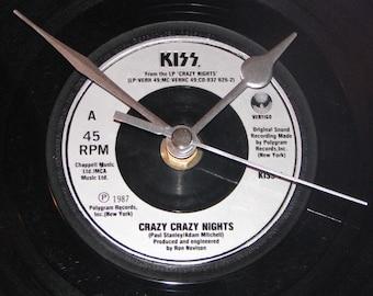 """Kiss crazy crazy nights  7"""" vinyl record clock"""