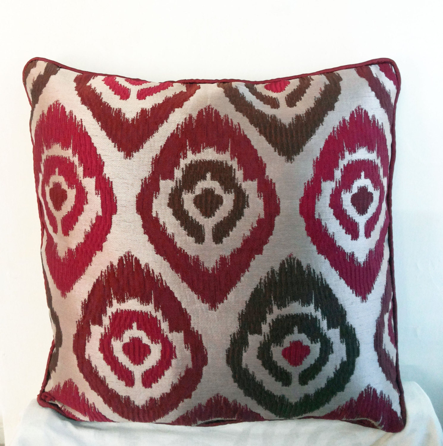 Decorative Pillows For Red Sofa : SALE 18x18 Red Beige Polyester Decorative Throw Pillow Cover