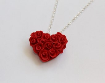 Valentine Heart Red Rose Polymer Clay Necklace