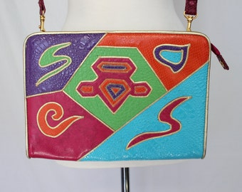 Awesome 80's Colorful Leather Patchwork Bag