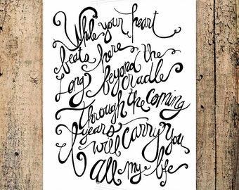 I Will Carry You by Selah, pregnancy loss, baby loss, grieving mother, hope of Heaven -- INSTANT DOWNLOAD 8x10 Hand Lettered Print