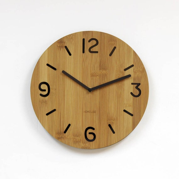 Round Numbers Layer Bamboo Wood Wall Clock