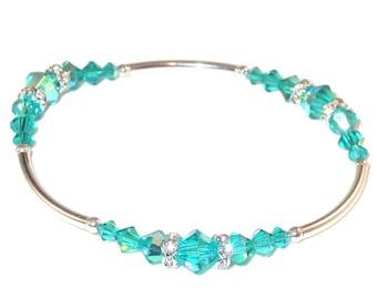 BLUE ZIRCON Teal Crystal Bracelet Stretch Sterling Silver Handcrafted Swarovski Elements
