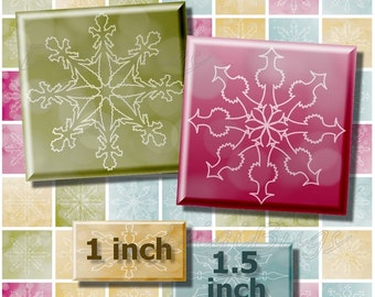 Digital Snowflake Images, 1 inch & 1.5 inch Squares, Digital Collage Sheet, Christmas Jewelry Supply, Printable Snowflake Vector