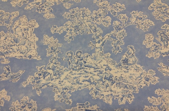 childs play toile fabric blue and white fabric by the yard. Black Bedroom Furniture Sets. Home Design Ideas