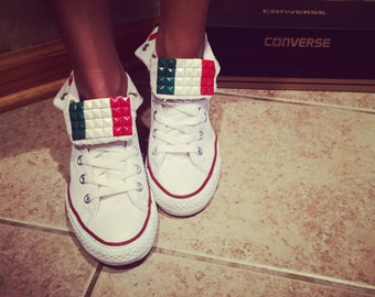Italian Flag Custom Converse All Star Shoes- Chuck Taylors! ALL SIZES AVAILABLE!! Italy Shoes; Bella Shoes; Wedding Chucks; Custom High Tops