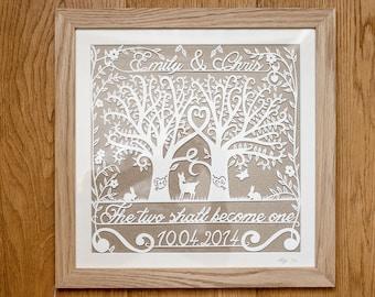 Entwined Trees Papercut Customised Wedding and Anniversary Keepsakes