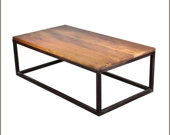 Modern Wood and Metal Coffee Table