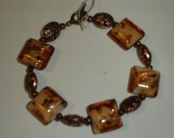 Amber Glass and Copper Bracelet