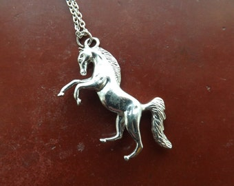 Vintage horse pendant on a long chain.