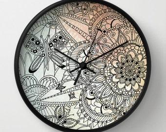 Mandala Wall Clock, Butterfly Clock, Mandala Drawing, Wall Decor, Original Art, Original Drawing, Home Decor, Art Decor, Art Clock, Nature